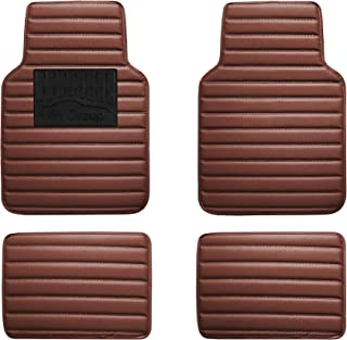 FH Group F12001BROWN Luxury Universal All-Season Heavy-Duty Faux Leather Car Floor Mats Stripe Design w. High Tech 3-D Anti-Skid/Slip Backing