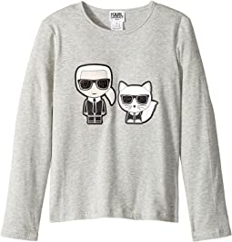 Karl Lagerfeld Kids - Long Sleeve Tee with Karl/Choupette Graphic (Little Kids)