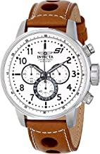 Invicta Men's S1 Rally Analog Display Japanese Quartz Stainless Steel Brown Leather Band Watch