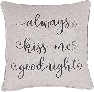 ADecor Pillow Covers Always Kiss me Goodnight Pillowcase Embroidered Pillow Cover Decorative Pillow Standard Cushion Cover Gift Love Couple Wedding (18x18, Linen)