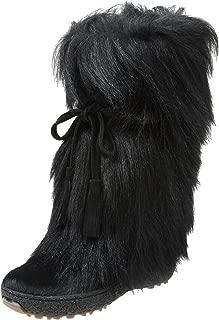 Women's Scarlet Tassle Tie Goat Hair Boot