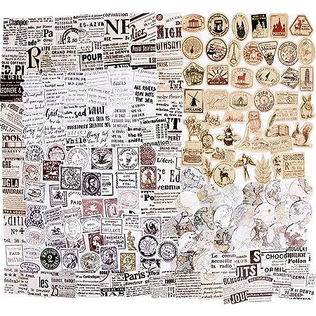 273PCS Autocollants Scrapbooking Stickers Gommettes Etiquettes Adhésif Style Vintage DIY Album Photo 6 Boîtes pour Journal Plan Bricolage Artisanat Scrapbooking Journal