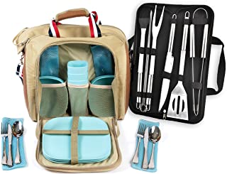 Large Picnic Bag for 4 person with Insulated Cooler Compartment, camping picnic bag with utensils, outdoor picnic bag, coo...