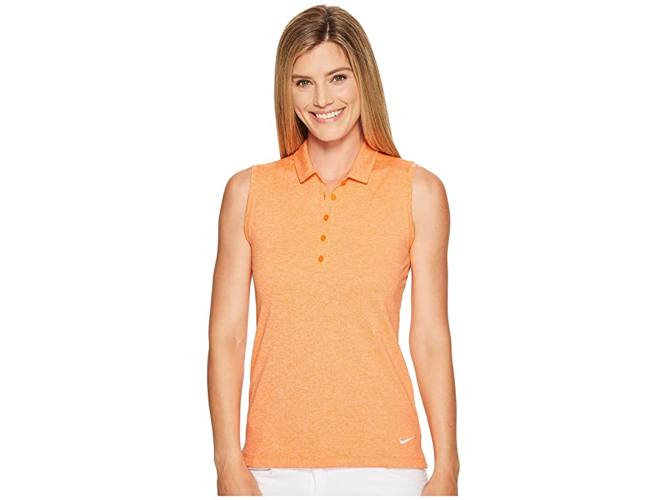 Nike Golf Sleeveless Heather Polo (Bright Mandarin/Heather/White) Women