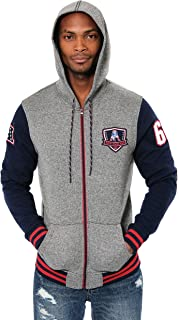 Ultra Game NFL Men`s Full Zip Soft Fleece Hoodie Letterman Varsity Jacket