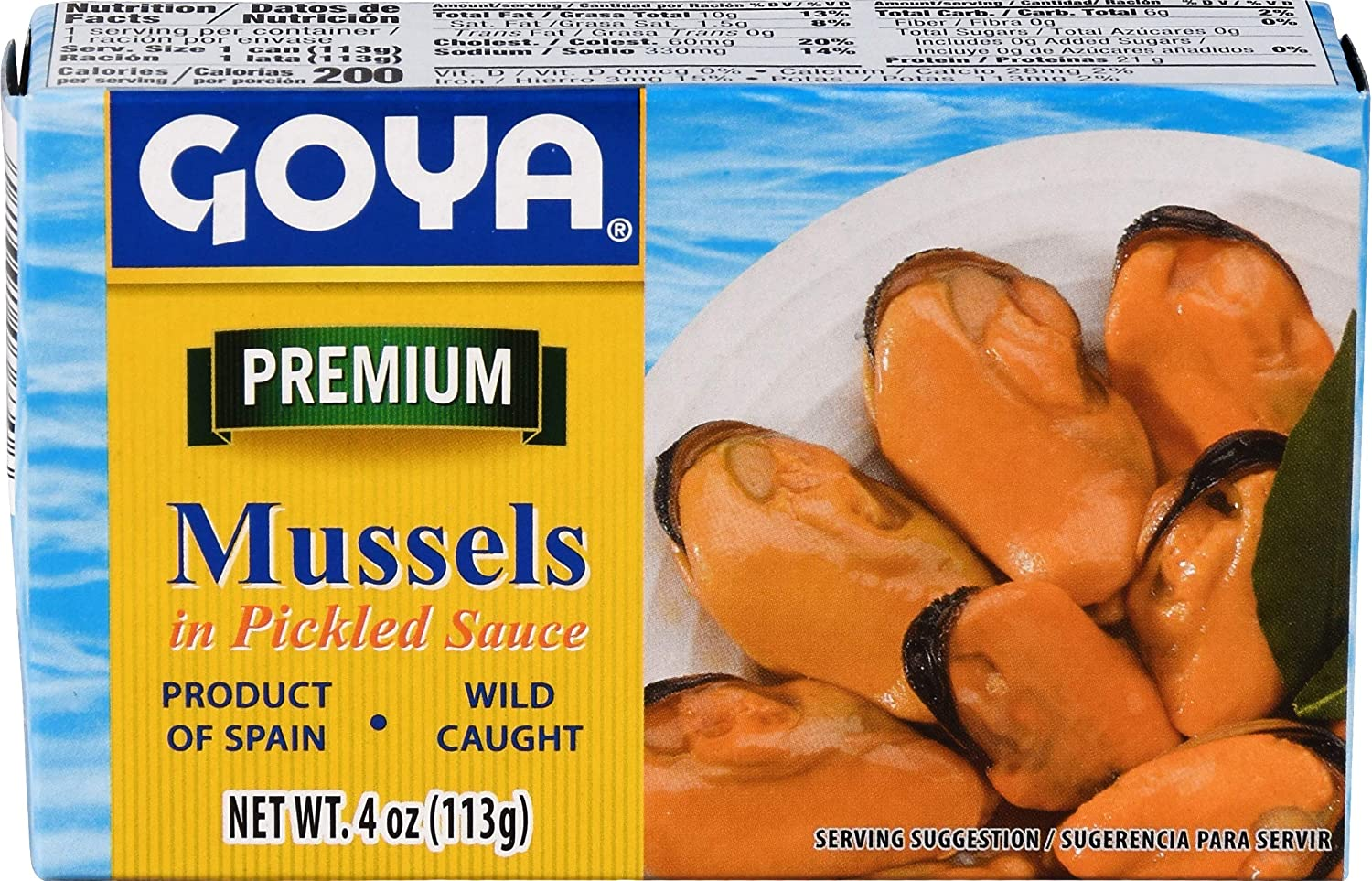 Goya Foods Mussels in Pickled Sauce (Mejillonew Escabeche), 4-Ou