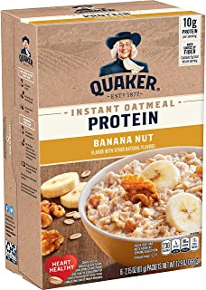 Quaker Protein Instant Oatmeal, Banana Nut, 10g Protein, Individual Packets, 36 Count