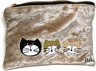Trousse per trucco in velluto con tre gatti - Trousse per gioielli con tre gatti - Borsa per trucco in tessuto personalizzata