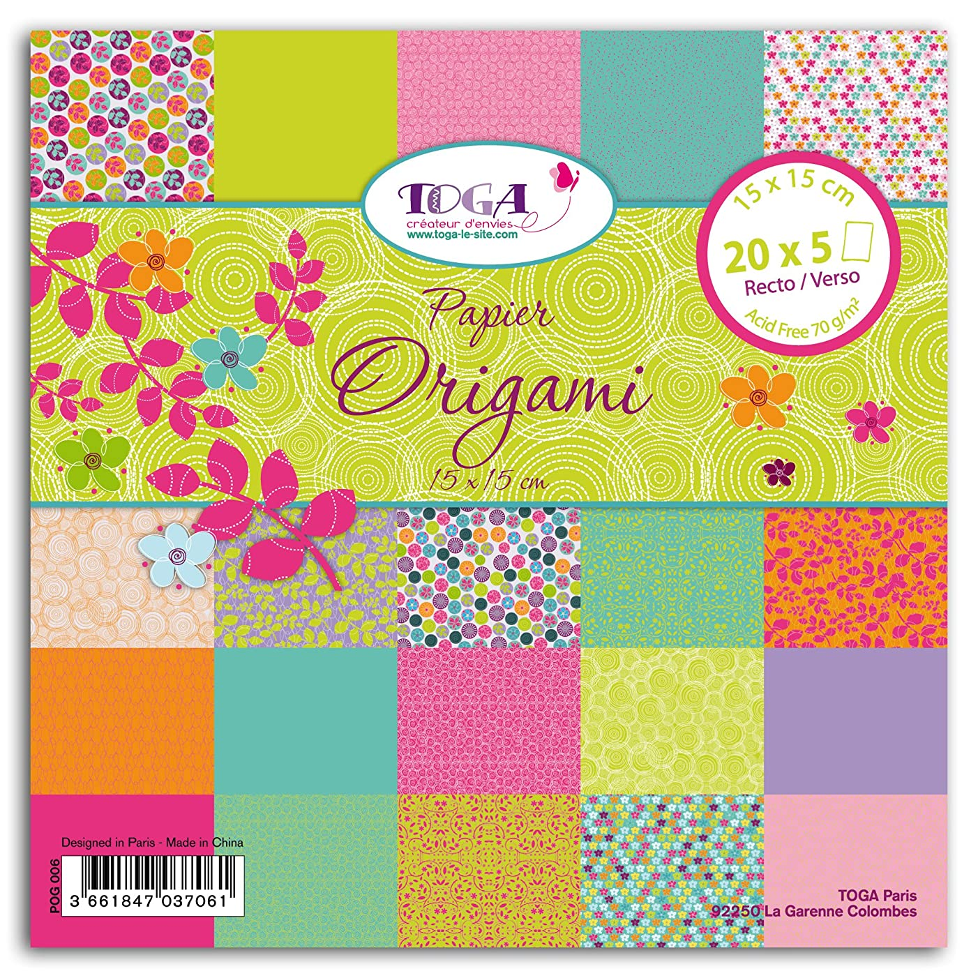 Toga pog006?Sweet Pea 100?Sheets Origami Paper 15?x 15?x 1?cm Multi-Coloured