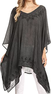 Regina Ligero Pony Stonewashed Poncho Top Blusa Caftan Cover up