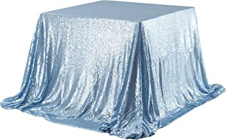 Poise3EHome 50x50 Square Sequin Tablecloth for Party Cake Dessert Table Exhibition Events, Baby Blue