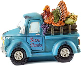 Gerson Give Thanks Fall Harvest Turkey Pickup Truck Figurine (Blue)