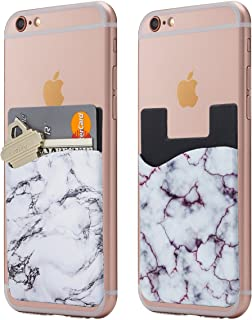 Cardly Marble Cell Phone Stick on Wallet Card Holder Phone Pocket for iPhone - White