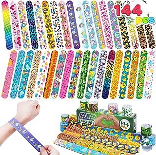 JOYIN 144 Pcs Slap Bracelets Wristbands with Emoji, Animals, Friendship, Heart Print Design, for Kids Valentine's Day Part...