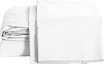 100% Cotton Percale Sheets Full Size, White, Deep Pocket, 4 Piece - 1 Flat, 1 Deep Pocket Fitted Sheet and 2 Pillowcases, Crisp and Strong Bed Linen