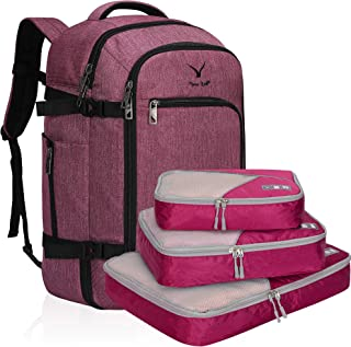 Hynes Eagle Travel Backpack 40L Flight Approved Carry on Backpack Red Violet with Red Violet 3PCS Packing Cubes 2018