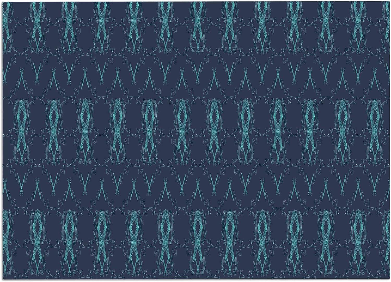 KESS InHouse NK2007ADM02 Neelam Kaur Threads bluee Pattern Illustration Dog Place Mat, 24  x 15