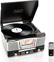 Updated Version Classic Style Turntable - Built-in Speakers, Wireless Record Player, Record Player Convert Vinyl to Mp3, CD/Radio/USB/SD/MP3/WMA, 2 Speed Turntable: 33, 45, RPM - Pyle PTCD8UB (Black)