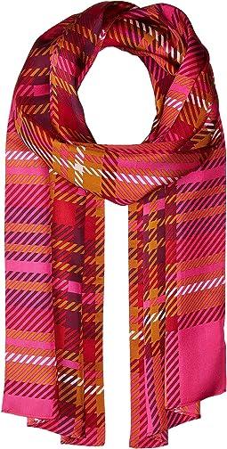 Echo Design Graphic Plaid Silk Oblong Scarf