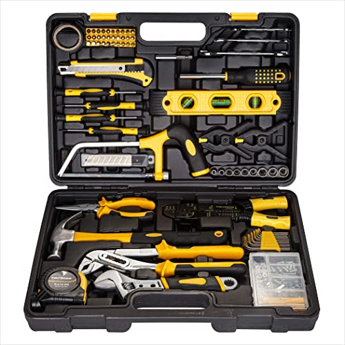discount CARTMAN wholesale Yellow 218Piece Tool Set General Household Hand Tool new arrival Kit with Plastic Toolbox Storage Case online