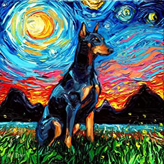 Doberman Pinscher Starry Night Dog Art van Gogh Print by Aja choose size and type of paper Wall decor