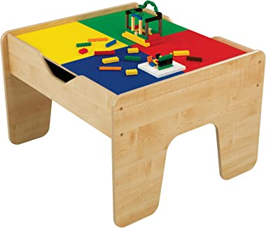 KidKraft 2-in-1 Reversible Top Activity Table with 200 Building Bricks and 30-Piece Wooden Train Set, Natural ,Gift for Ages