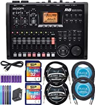 Zoom R8 Multitrack Recorder Bundle with Silicon Power 16GB and 32GB Class 10 SDHC SD Cards, Blucoil 2-Pack of 10-FT Mono Instrument Cables, 2x 10' XLR Cables, 5x Cable Ties, and 8 AA Batteries