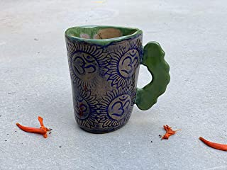 Blue and Green OM Mug, Handmade Pottery Tea or Coffee Clay Cup