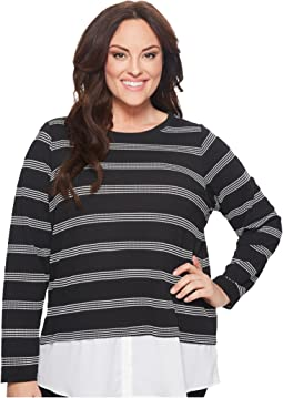 Calvin Klein Plus - Plus Size Textured Stripe Twofer