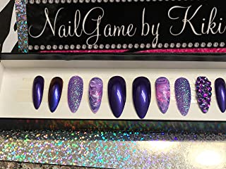 Dem Purples with a swirl Hand Designed Press-on Glue-on Nails Custom Nails False Nails Fake Nails Coffin Nails Handmade Nail Set