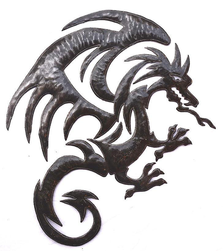 Dragon Metal Wall Hanging Artwork, Unique Original Art from Haiti, 20.5