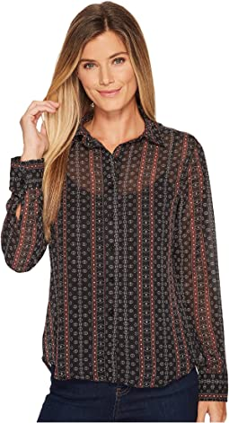 Cruel - Long Sleeve Printed Chiffon Blouse