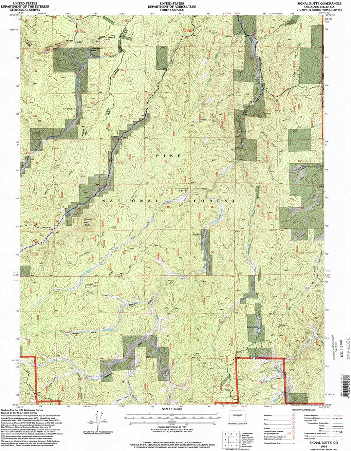 Signal Butte CO topo map, 1 24000 Scale, 7.5 X 7.5 Minute, Historical, 1994, Updated 1998, 26.6 x 21.9 in