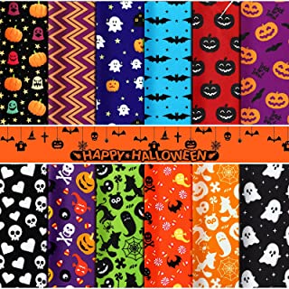 12 Pieces Halloween Fabric Bundles Halloween Theme Sewing Craft Fat Quarters Patchwork Fabric for DIY Halloween Party Deco...