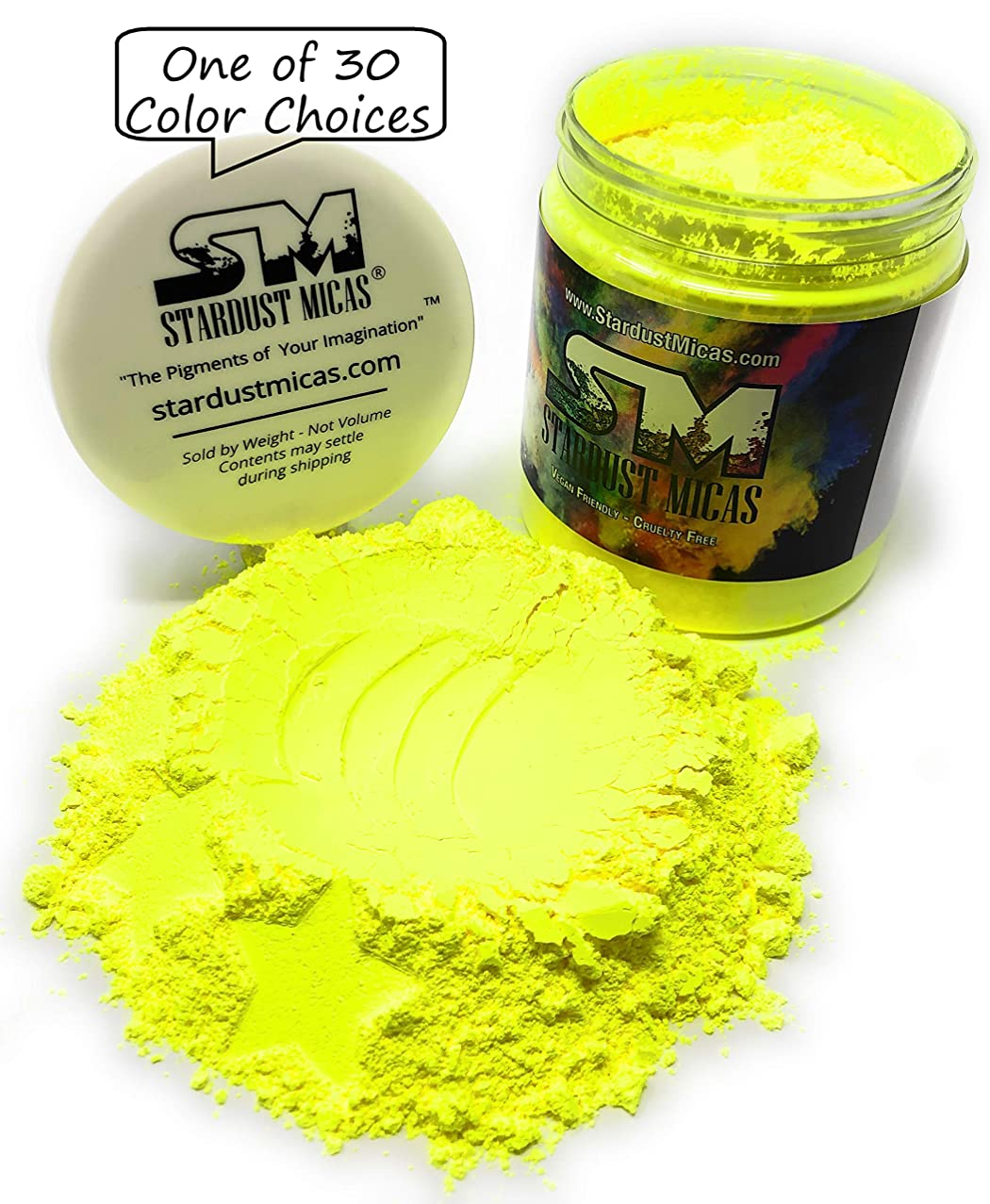 Stardust Micas Neon Pigment Powder for Soap Making, Slime Coloring, Epoxy Resin, Bright True Fluorescent Colors Cold Process Stable Matte Dye Colorant Electric Yellow