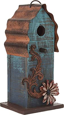 "Carson - Aqua Blue w/ Red Flower Wood & Tin Roof 10"" Hanging Birdhouse"