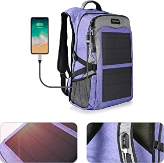 Laptop Backpack 12W USB Charging Port Durable Waterproof Mutiple Function Solar Backpack for Travel Outdoor Hiking