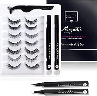 (7 Pairs with Clear and Black Liners) Luxillia by Amazon Self Adhesive Eyeliner and Eyelashes Kit - 8D Natural Look Eyelas...