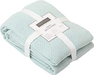 MOCASA 100% Cotton Throw Blanket- Super Soft Premium Cotton Bed Blanket- Herringbone Weave- All Weather- Multi Purpose Bed Blanket Bed Cover Bed Spread (Glacier, King)