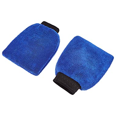 Amazon Brand - Solimo Microfibre Cleaning Mitt Glove, Set of 2