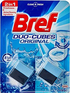 Bref Duo Cubes Original, 2in1 formula, In Cistern Toilet Tank Cleaner and deodoriser, Blue Water effect, 2x50g