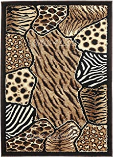 Animal Skin Prints Patchwork Leopard Zebra Rugs 4 Less Collection Area Rug R4L 74 (5'x7'2