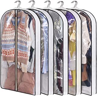"""KIMBORA 40"""" Suit Bag with 4"""" Gussetes Garment Bags for Closet Storage Hanging Clothes Cover 5 Packs for Coats Sweaters Shi..."""