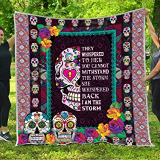 Sugar Candy Skull I Am The Storm Quilt Fleece Throw Blankets Comforter Tapestry Queen Full Twin Size Christmas Birthday Catrina Calaveras Mexican Gifts for Mexican Mexico Day of the Dead Girls Women