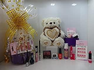 Gloria cosméticos Make Up y juego de oso de peluche cesta de regalo para ella, juego de 12