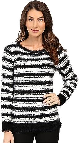 Stripe Eyelash Crew Neck Sweater