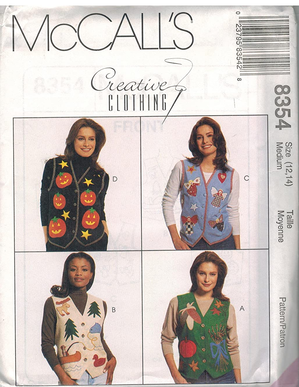 Misses Lined Vests Sewing Pattern Front Button Optional Ties Appliques McCall 8354 Creative Clothing (M 12-14)