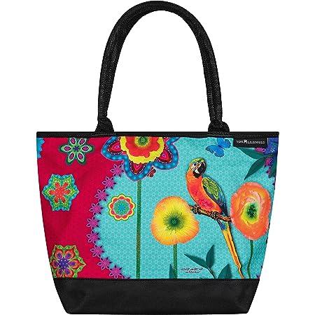 VON LILIENFELD Handtasche Damen Kunst Motiv Eva Maria Nitsche: Parrot in Paradise Shopper Maße L42 x H30 x T15 cm Strandtasche Henkeltasche Büro
