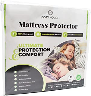 King Size Luxury Bamboo Hypoallergenic Waterproof Mattress Protector - Breathable Noiseless Fitted Bed Cover Stays Cool - Protection Against Stains, Fluids, Dust Mites, Allergens, Bacteria