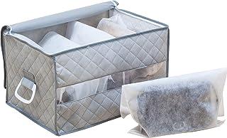 アストロ バッグ収納ケース グレー 不織布 収納袋5枚付き 仕切り付き 179-06